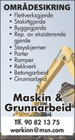Maskin & Grunnarbeid Sylvi Holm Workinn