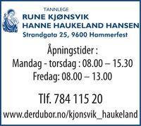 Tannlegene Rune Kjønsvik & Hanne Haukeland Hansen