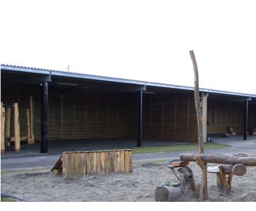 Vi har utformet uteareal og montert lekeapparater for Haugaland Industri barnehage.