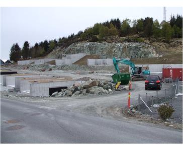 Vi har byggemodnet byggefeltet på Moksheim i Karmøy kommune for Berge sag Ølen.